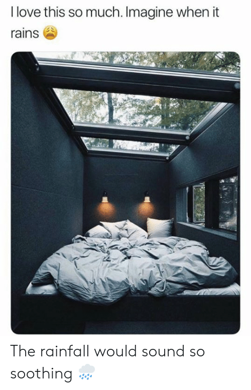 Sound, Imagine, and This: Ilove this so much. Imagine when it  rains The rainfall would sound so soothing 🌧️