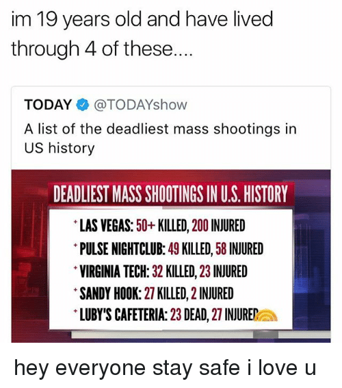 Bailey Jay, Love, and Las Vegas: im 19 years old and have lived  through 4 of these....  TODAY@TODAYshow  A list of the deadliest mass shootings in  US history  DEADLIEST MASS SHOOTINGS IN U.S. HISTORY  LAS VEGAS: 50+KILLED, 200 INJURED  PULSE NIGHTCLUB: 49 KILLED, 58 INJURED  VIRGINIA TECH: 32 KILLED, 23 INJURED  SANDY HOOK: 27 KILLED, 2 INJURED  LUBY'S CAFETERIA: 23 DEAD, 27 INJUREa hey everyone stay safe i love u