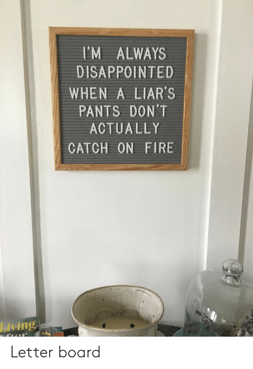 Disappointed, Fire, and Living: I'M ALWAYS  DISAPPOINTED  WHEN A LIAR'S  PANTS DON'T  ACTUALLY  CATCH ON FIRE  Living Letter board