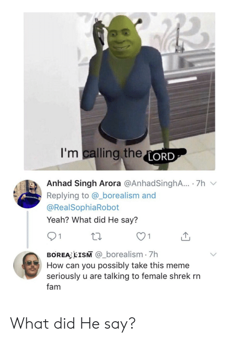 Fam, Meme, and Shrek: I'm calling theLORD  Anhad Singh Arora @AnhadSinghA.. 7h  Replying to @_borealism and  amli  @RealSophiaRobot  Yeah? What did He say?  1  BOREA EISM @_borealism 7h  How can you possibly take this meme  seriously u are talking to female shrek rn  fam What did He say?