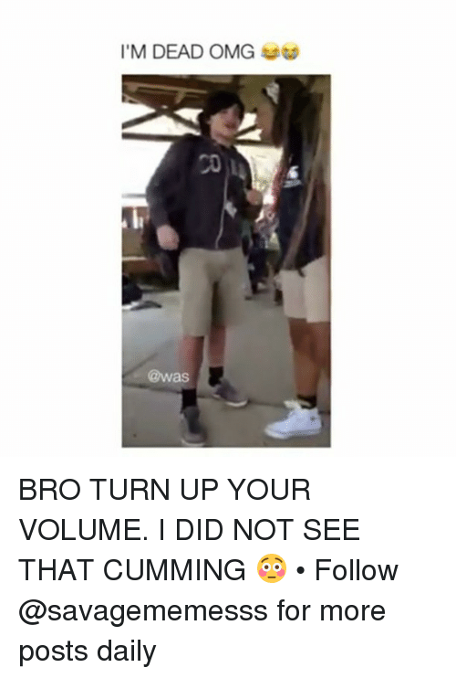 Memes, Omg, and Turn Up: I'M DEAD OMG  6  @was BRO TURN UP YOUR VOLUME. I DID NOT SEE THAT CUMMING 😳 • Follow @savagememesss for more posts daily