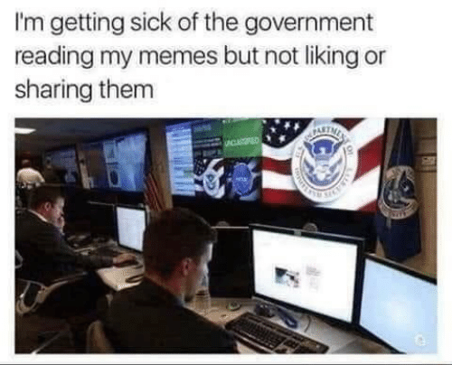 Memes, Sick, and Government: I'm getting sick of the government  reading my memes but not liking or  sharing them