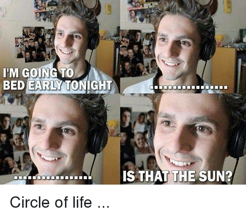 Dank, Life, and 🤖: I'M GOING TO  BED EARLY TONIGHT  IS THAT THE SUN? Circle of life ...