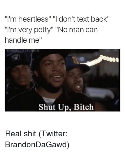 "Bitch, Funny, and Memes: ""I'm heartless"" ""I don't text back""  ""I'm very petty"" ""No man can  handle me""  Shut Up, Bitch Real shit (Twitter: BrandonDaGawd)"