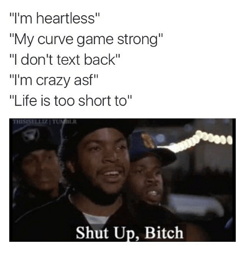 "Bitch, Crazy, and Curving: ""I'm heartless""  ""My curve game strong""  ""I don't text back""  ""I'm crazy asf""  ""Life is too short to""  Shut Up, Bitch"