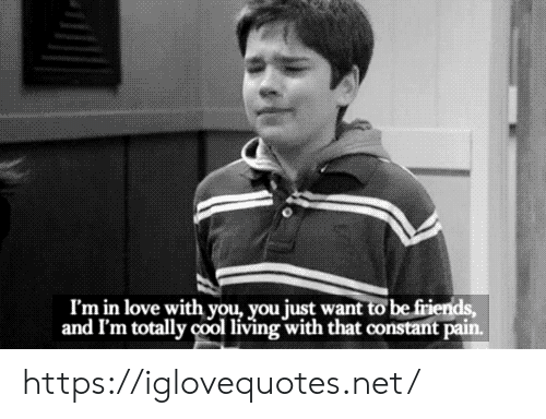 Friends, Love, and Cool: I'm in love with you, you just want to be friends,  and I'm totally cool living with that constant pain. https://iglovequotes.net/