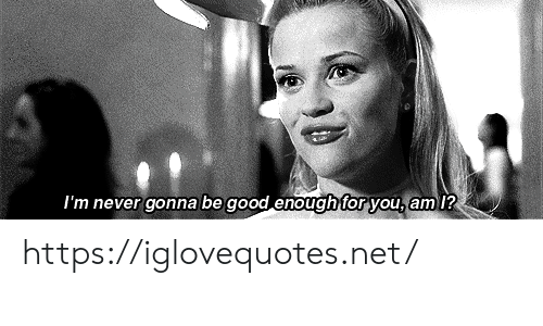 Good, Never, and Net: I'm never gonna be good enough for you, am 1? https://iglovequotes.net/