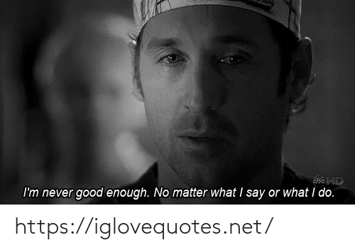 Good, Never, and Net: I'm never good enough. No matter what I say or what i do. https://iglovequotes.net/