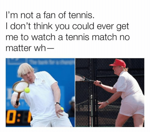 Tennis: I'm not a fan of tennis.  I don't think you could ever get  me to watch a tennis match no  matter wh-
