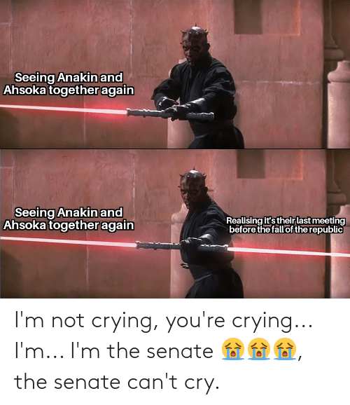 Im Not Crying: I'm not crying, you're crying... I'm... I'm the senate 😭😭😭, the senate can't cry.