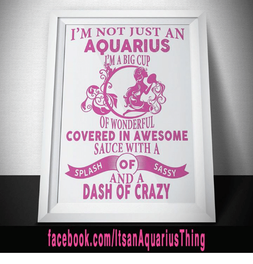 spl: I'M NOT JUST AN  AQUARIUS  IM A BIG CUP  OF WONDERFUL  COVERED IN AWESOME  SAUCE WITH A  OF  SASSY  SPL  AND A  DASH facebook.com/lisanAquarius Thing