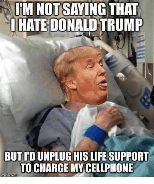 Donald Trump, Life, and Memes: IM NOT SAYING THAT  OHATE DONALD TRUMP  BUT ID UNPLUG HIS LIFE SUPPORT  TO CHARGE MY CELLPHONE  imrlip.com