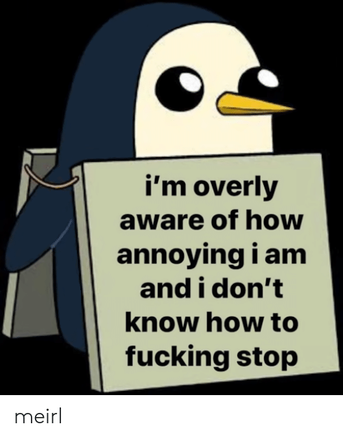 Fucking, How To, and MeIRL: i'm overly  aware of how  annoying i am  and i don't  know how to  fucking stop meirl