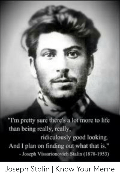 "Joseph Stalin Meme: ""I'm pretty sure there's a lot more to life  than being really, really  ridiculously good looking.  And I plan on finding out what thatis.""  Joseph Vissarionovich Stalin (1878-1953) Joseph Stalin 