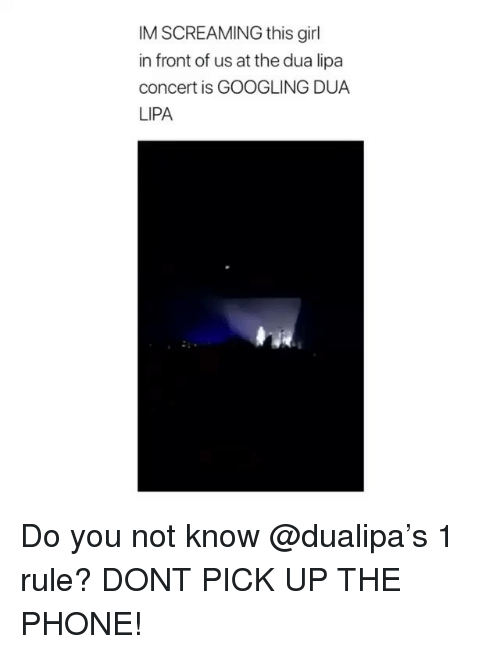 Dua: IM SCREAMING this girl  in front of us at the dua lipa  concert is GOOGLING DUA  LIPA Do you not know @dualipa's 1 rule? DONT PICK UP THE PHONE!