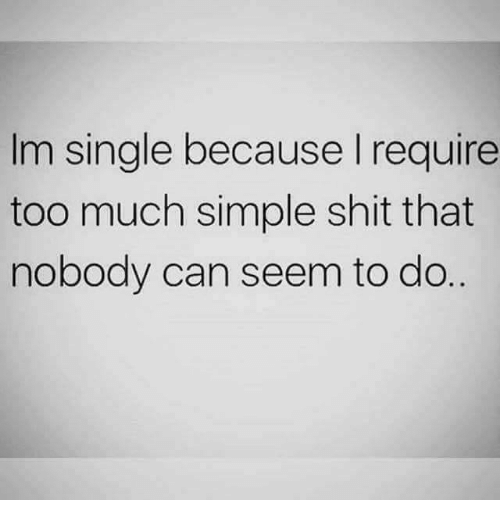 Memes, Shit, and Too Much: Im single because I require  too much simple shit that  nobody can seem to do