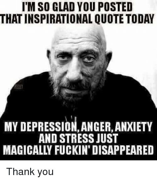 Memes, Thank You, and Anxiety: I'M SO GLAD YOU POSTED  THAT INSPIRATIONAL QUOTE TODAY  MY DEPRESSION, ANGER, ANXIETY  AND STRESS JUST  MAGICALLY FUCKIN' DISAPPEARED Thank you