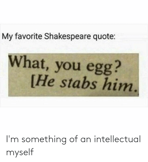 An Intellectual: I'm something of an intellectual myself