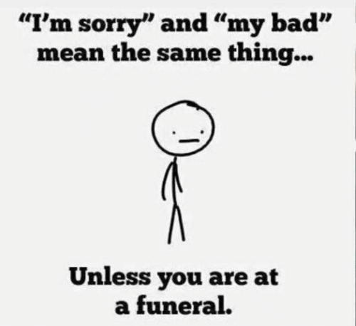 """Bad, Dank, and Sorry: """"I'm sorry"""" and """"my bad""""  mean the same thing...  Unless you are at  a funeral."""