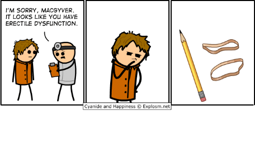 Cyanides And Happiness: I'M SORRY, MACGYVER  IT LOOKS LIKE YOU HAVE  ERECTILE DYSFUNCTION  Cyanide and Happiness O Explosm.net