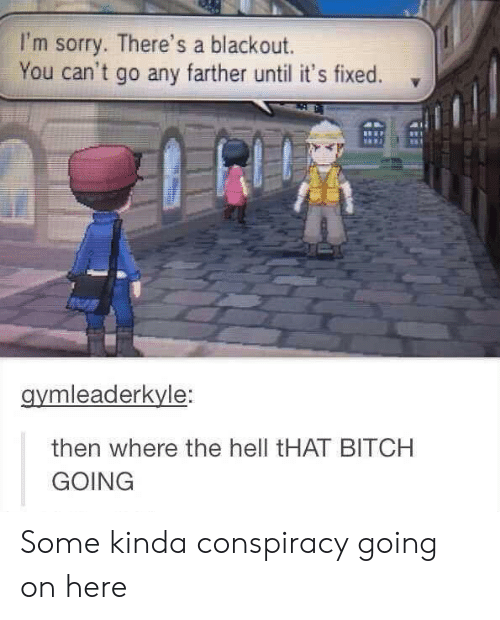 Bitch, Sorry, and Conspiracy: I'm sorry. There's a blackout.  You can't go any farther until it's fixed.  gymleaderkyle:  then where the hell tHAT BITCH  GOING Some kinda conspiracy going on here