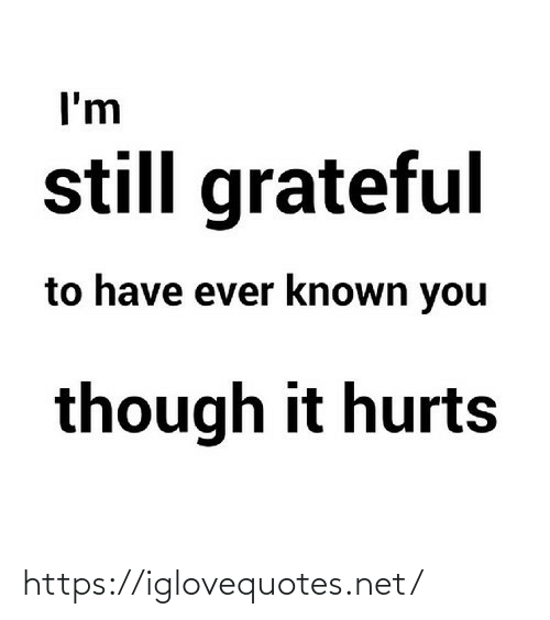 though: I'm  still grateful  to have ever known you  though it hurts https://iglovequotes.net/