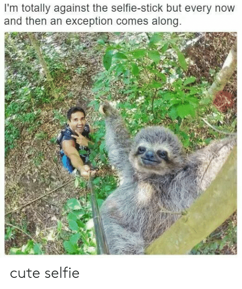 Cute, Selfie, and Selfie Stick: I'm totally against the selfie-stick but every novw  and then an exception comes along cute selfie