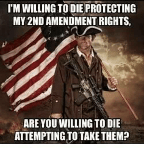 Memes, 2nd Amendment, and 🤖: IM WILLING TO DIE PROTECTING  MY 2ND AMENDMENT RIGHTS  ARE YOU WILLING TO DIE  ATTEMPTING TO TAKE THEM?