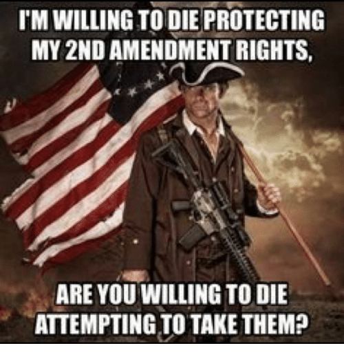 Memes, 2nd Amendment, and 🤖: IM WILLING TO DIE PROTECTING  MY 2ND AMENDMENT RIGHTS,  ARE YOU WILLINGTO DIE  ATTEMPTING TO TAKE THEM?