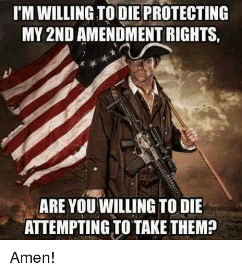 Memes, 🤖, and Amen: IM WILLING TO DIE PROTECTING  MY2ND AMENDMENT RIGHTS,  ARE YOU WILLING TO DIE  ATTEMPTING TO TAKE THEM? Amen!