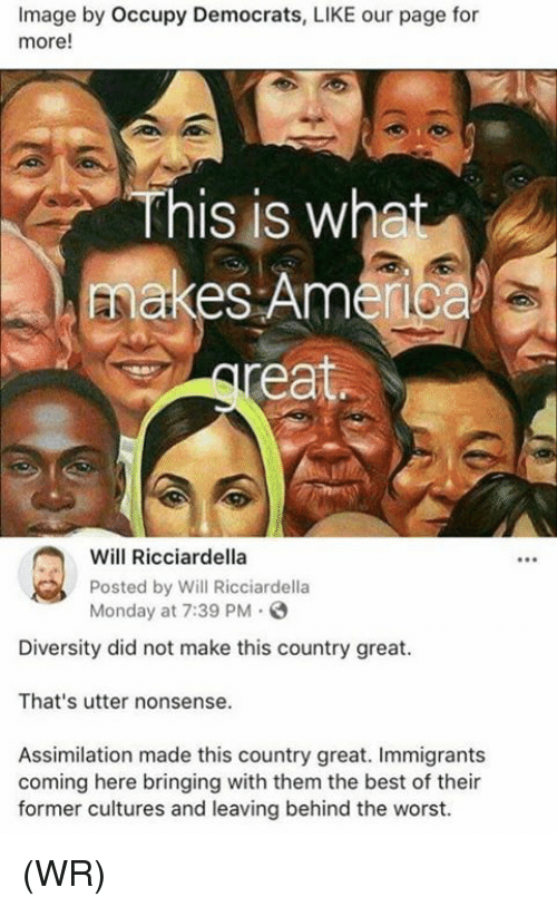 Memes, The Worst, and Best: Image by Occupy Democrats, LIKE our page for  more!  This is wha  makes Amerioa  Will Ricciardella  Posted by Will Ricciardella  Monday at 7:39 PM  Diversity did not make this country great.  That's utter nonsense.  Assimilation made this country great. Immigrants  coming here bringing with them the best of their  former cultures and leaving behind the worst. (WR)