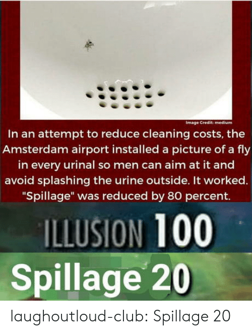 "Amsterdam: Image Credit: medium  In an attempt to reduce cleaning costs, the  Amsterdam airport installed a picture of a fly  in every urinal so men can aim at it and  avoid splashing the urine outside. It worked.  ""Spillage"" was reduced by 80 percent.  ILLUSION 100  Spillage 20 laughoutloud-club:  Spillage 20"