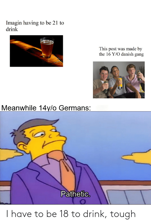 Gang: Imagin having to be 21 to  drink  This post was made by  the 16 Y/O danish gang  Meanwhile 14y/o Germans:  Pathetic. I have to be 18 to drink, tough