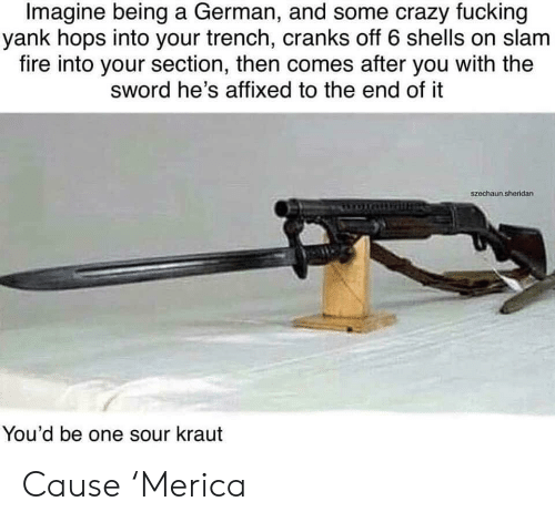 Shells: Imagine being a German, and some crazy fucking  yank hops into your trench, cranks off 6 shells on slam  fire into your section, then comes after you with the  sword he's affixed to the end of it  szechaun.sheridan  You'd be one sour kraut Cause 'Merica