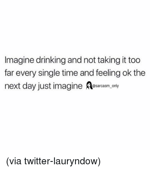 Drinking, Funny, and Memes: Imagine drinking and not taking it too  far every single time and feeling ok the  next day just imagine esarcasm. only (via twitter-lauryndow)