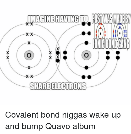 Memes, Quavo, and 🤖: IMAGINE HAVING TO USTIWSADE  ONICBONDGANG  SHARE ELECTRONS Covalent bond niggas wake up and bump Quavo album