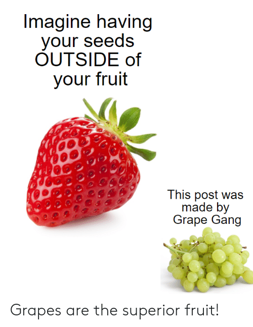 grape: Imagine having  your seeds  OUTSIDE of  your fruit  This post was  made by  Grape Gang Grapes are the superior fruit!