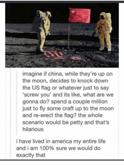 America, Anaconda, and Life: imagine if china, while they're up on  the moon, decides to knock down  the US flag or whatever just to say  screw you' and its like, what are we  gonna do? spend a couple million  just to fly some craft up to the moon  and re-erect the flag? the whole  scenario would be petty and that's  hilarious  i have lived in america my entire life  and i am 100% sure we would do  exactly that