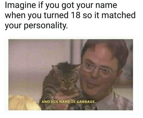 And His Name Is: Imagine if you got your name  when you turned 18 so it matched  your personality  AND HIS NAME IS GARBAGE.