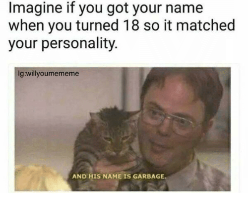 And His Name Is: Imagine if you got your name  when you turned 18 so it matched  your personality.  Ig:willyoumememe  AND HIS NAME IS GARBAGE