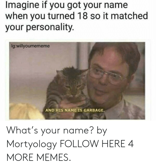 And His Name Is: Imagine if you got your name  when you turned 18 so it matched  your personality.  Ig:willyoumememe  AND HIS NAME IS GARBAGE What's your name? by Mortyology FOLLOW HERE 4 MORE MEMES.