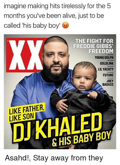 freddie gibbs: imagine making hits tirelessly for the 5  months you've been alive, just to be  called his baby boy'  THE FIGHT FOR  FREDDIE GIBBS'  FREEDOM  YOUNG DOLPH  GOLDLINK  LILYACHTY  FUTURE  JOEY  BADA$$  LIKE FATHER  DU KHALED  LIKE SON  & Asahd!, Stay away from they