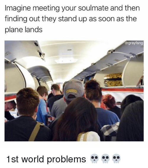 Memes, Soon..., and World: Imagine meeting your soulmate and then  finding out they stand up as soon as the  plane lands  drgrayfang 1st world problems 💀💀💀