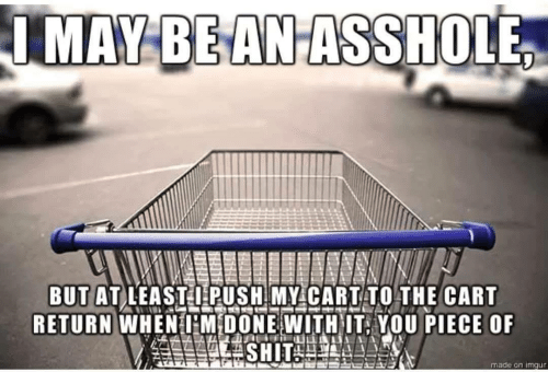 Imgur, Push, and You: IMAY BEANASSHOLE  BUT AT LEASTI PUSH MY CARTTO THE CART  RETURN WHENHM DONE WITHIT, YOU PIECE OF  made on imgur