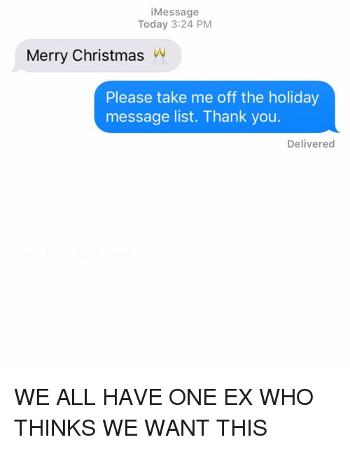 The Holiday: iMessage  Today 3:24 PM  Merry ChristmasW  Please take me off the holiday  message list. Thank you.  Delivered WE ALL HAVE ONE EX WHO THINKS WE WANT THIS