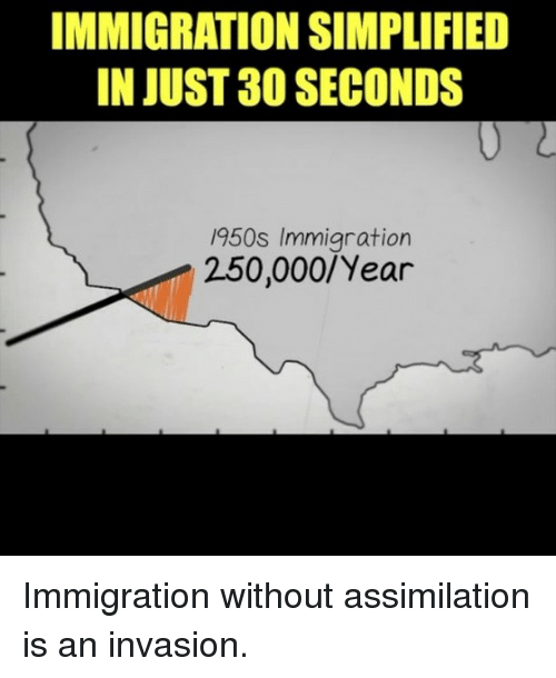 Memes, Immigration, and 🤖: IMMIGRATION SIMPLIFIED  IN JUST 30 SECONDS  950s Immigration  250,000/Year Immigration without assimilation is an invasion.