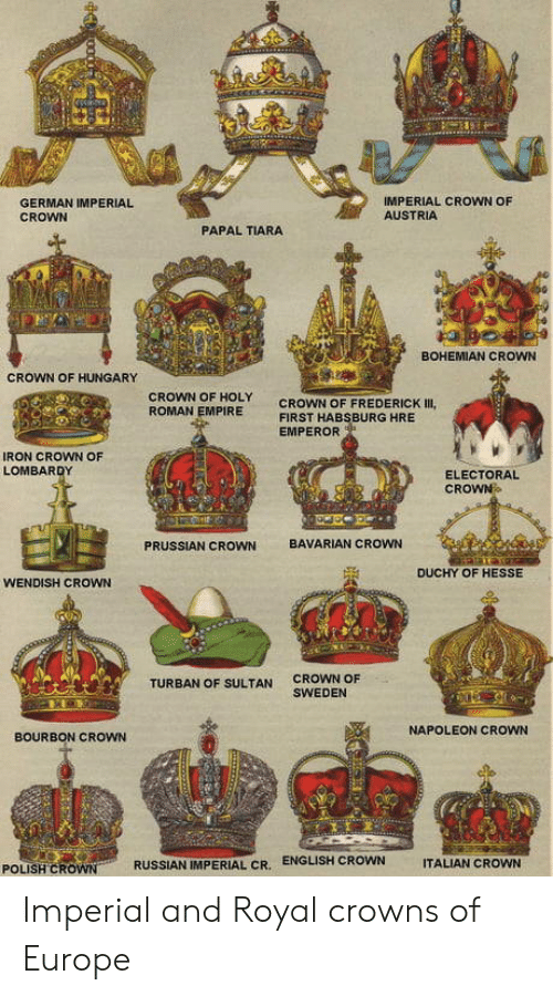 Empire, Europe, and Sweden: IMPERIAL CROWN OF  AUSTRIA  GERMAN IMPERIAL  CROWN  PAPAL TIARA  BOHEMIAN CROWN  CROWN OF HUNGARY  CROWN OF HOLY  CROWN OF FREDERICK III  ROMAN EMPIRE  FIRST HABSBURG HRE  EMPEROR  IRON CROWN OF  LOMBARDY  ELECTORAL  CROWN  BAVARIAN CROWN  PRUSSIAN CROWN  DUCHY OF HESSE  WENDISH CROWN  CROWN OF  SWEDEN  TURBAN OF SULTAN  NAPOLEON CROWN  BOURBON CROWN  ENGLISH CROWN  RUSSIAN IMPERIAL CR.  ITALIAN CROWN  POLISH CROWN Imperial and Royal crowns of Europe