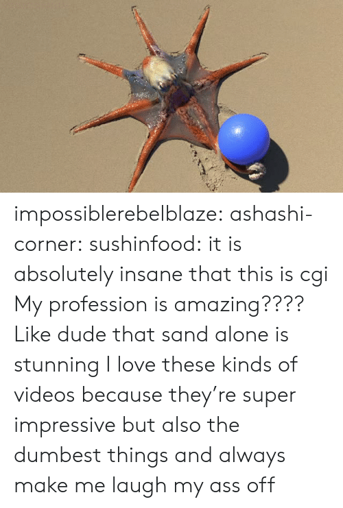 dumbest: impossiblerebelblaze:  ashashi-corner:   sushinfood:  it is absolutely insane that this is cgi  My profession is amazing???? Like dude that sand alone is stunning    I love these kinds of videos because they're super impressive but also the dumbest things and always make me laugh my ass off
