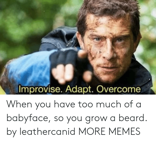 Beard, Dank, and Memes: improvise Adapt Overcome When you have too much of a babyface, so you grow a beard. by leathercanid MORE MEMES