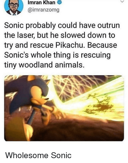 Animals, Pikachu, and Sonic: Imran  Khan  @imranzomg  Sonic probably could have outrun  the laser, but he slowed down to  try and rescue Pikachu. Because  Sonic's whole thing is rescuing  tiny woodland animals. Wholesome Sonic